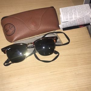 Ray-Ban Clubmaster Shades  w/ case and strap